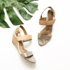 Sam Edelman Tan/Silver Wedge Sandals